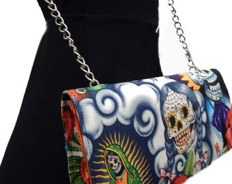 "USA Handmde Shoulder bag with ""Braided Hair Skeleton Contigo"" Pattern Clutch Bag with CHAIN-STRAP, Cotton, New"
