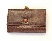 Vintage Wallet, Brown Leather,Stamped Reptile Leather, Red Lining