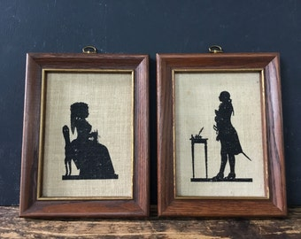 Vintage Framed Sillouettes Set Early American Man and Woman