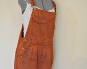 Orange Large Bib OVERALL Shorts - Orange Dyed Upcycled Old Navy Cotton Denim Shortalls - Adult Womens Size Large (38 Waist)