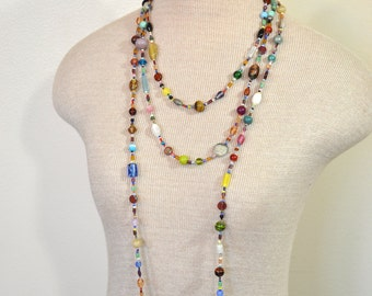 "Beaded NECKLACE - Long 22"" (44"") Multiple Primary Colors Pink Green Red Aqua Gold Seed Bead Glass Bead - Goes with Everything Necklace 49"