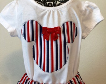 Red, white and blue striped twirly skirt & shirt set perfect for 4th of July, Disney, birthday parties, and patriotic celebrations!