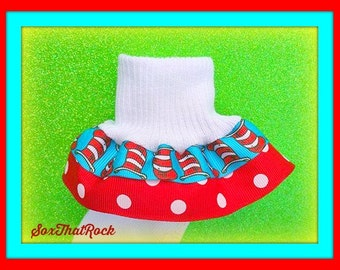 Dr. Seuss CAT in the HAT girls Double Ruffle Socks. u pick Solid Ribbon Color-Great for Birthdays outfits, school uniform, Universal Studios