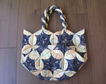 Hand Quilted bag, Hexagon Patchwork bag Japanese design fabric