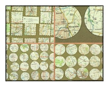 Vintage scrapbooking pack - 77 cutouts and die cuts - squares and circles - Cumberland map - English lakes and surrounding area.