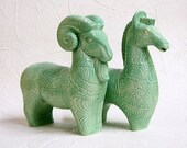 Ceramic Ram and Horse Bitossi Style Figurines Mid Century Modern Intaglio Sculptures in Mint Green - Made to Order