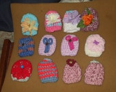 12 crochet decorated egg cozies  - granny's shopping cart
