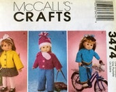 18 inch DOLL CLOTHES    McCall's 3474 PATTERN   Coats, Vests, Hat and Tunic and Pants Outfit, Skirt.  For Warmth and Style.