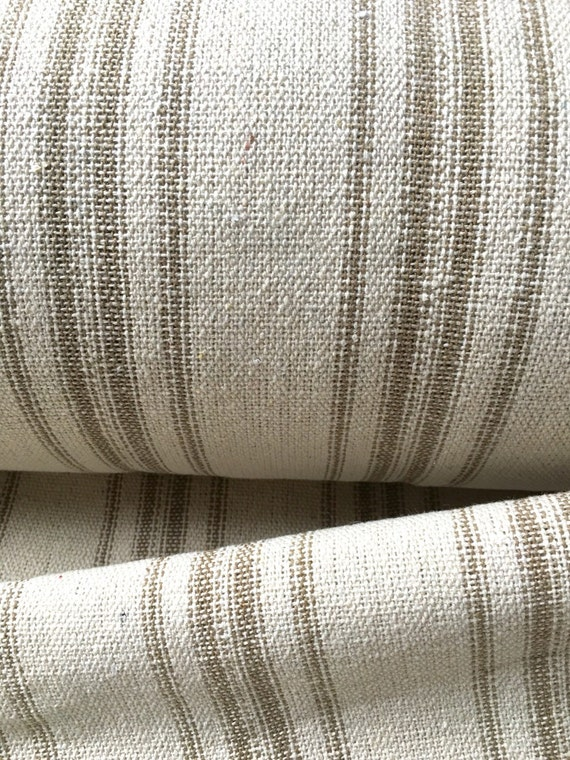 Grain Sack Fabric Tan Stripes Vintage Inspired Sold By The