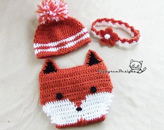 Baby Fox Diaper Cover, Hat, Headband Set, Photo prop - INSTANT DOWNLOAD Crochet Pattern