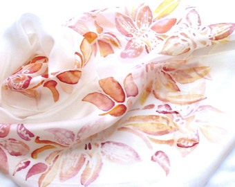 Hand painted scarf, Wedding scarf, silk scarf floral, orchid scarf, pastel scarf, wearable art, feminine, bridesmaid gift, art gift, Unique