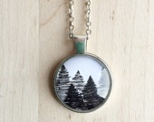 Hand Drawn Evergreen Pine Tree Forest Pendant Neckace