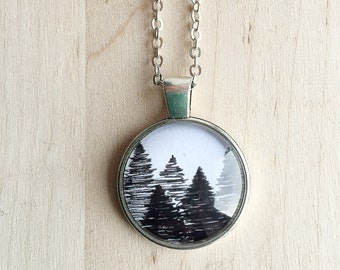 Hand Drawn Evergreen Pine Tree Forest Pendant Neckace