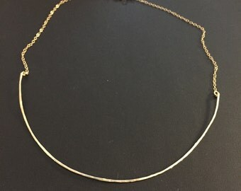 Thin gold choker necklace, hammered metal, also available in sterling silver