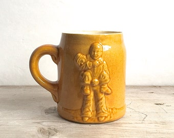 Mug,Boystown Ceramic Antique Boystown Glazed Mug Mustard Yellow Rare
