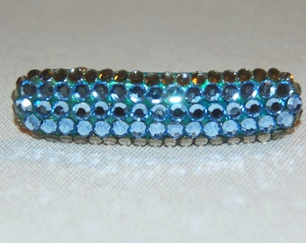 Vintage / Barrette / France / Rhinestone / Hair Clip / French / Blue / old jewelry jewellery