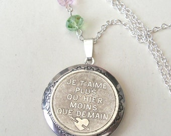 French Locket, Love Necklace, I Love You More Than Yesterday and Less Than Tomorrow, Antique Silver Locket, Je t'aime, Valentine Locket