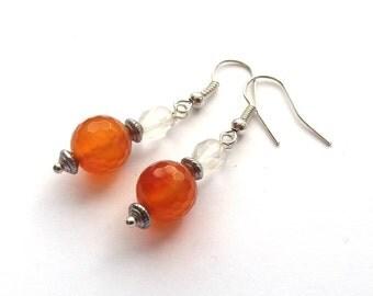 Carnelian Earrings, Orange Beaded Earrings, Amber Earrings, Faceted Beads, Silver Plated, Sterling, Surgical Steel Ear Wires,