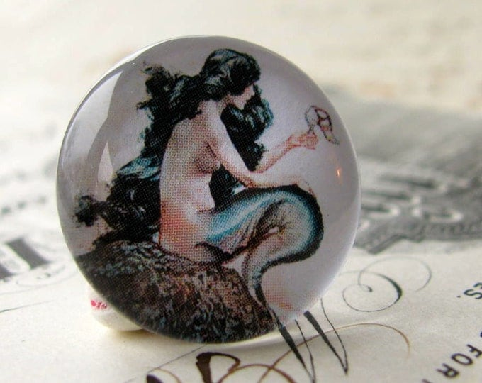 Mermaid cabochon, ocean lore, nautical legend, (2) handmade glass cabochons, round 22mm cabochon, flat back image, Fallen Angel Brass