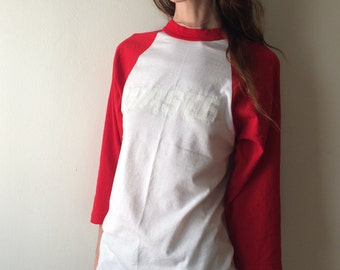 WASTE Vintage White and Red Baseball T Shirt Hand Printed white on white Industrial One of a kind FREE SHIPPING