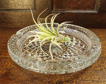 vintage 30s lead crystal dish ashtray cut art deco antique old container holder catchall cigar decorative home decor round clear glass heavy