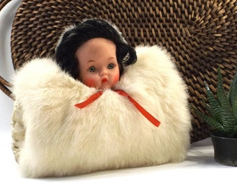 vintage 50s rabbit fur muff hand warmer doll head brunette white ruched satin champagne cream winter accessories cold snow dress formal old
