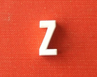 vintage 1930's white ceramic lowercase letter z small little old antique porcelain decorative home decor retro personalized initial name