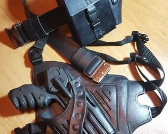 Farscape PK Pulse Pistol Holster. 100% genuine leather w/Premium leather belt +metal buckle + Crichton's Bag. USA replicas,costume,cosplay