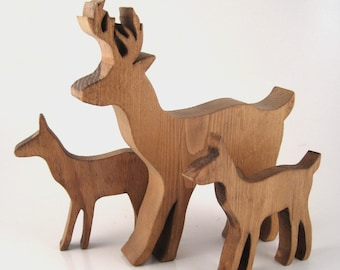 carved wood deer - stag and fawn - cottage decor - holiday decor - woodland decor - rustic decor - Christmas decor - winter decor