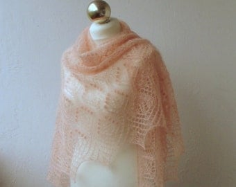 Light Apricot hand knitted  shawl with lace  pattern SPRING SALE 25%OFF