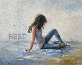 Lady Resting Art Print, woman, rest, relax, breathe, peace, gray, blue, wall art, zen, figurative,  oil painting, Vickie Wade Art