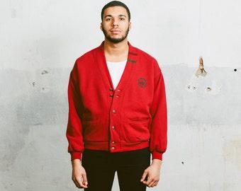 90s Mens Sweatshirt . Vintage Red Cardigan Sports Sweater Jumper Casual Rare Sportswear 1980s . size L