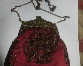 VINTAGE india   Purse Bag   silk hand  Beaded opera bag Ornate Brass / goldtone  Frame