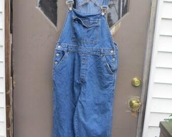 retro  Bill Blass  denim blue jean bib overalls /  school girl big girl / timeless    80s fashion  /  clothes sz med