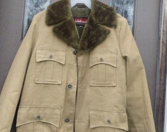 vtg  1970s LAKE FOREST Khaki canvas  Faux Fur Lined jacket  carcoat  USA Mens  sz 38