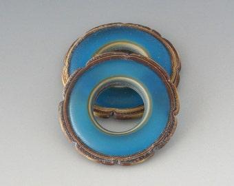 Rustic Ruffle Discs - (2) Handmade Lampwork Beads - Turquoise