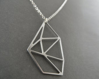 geometric necklace, diamond necklace, geometric jewelry, faceted jewelry, diamond jewelry, silver diamond