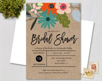 Bridal Shower Invitation / Rustic Shower / Country Floral / PRINTABLE INVITATION / 874