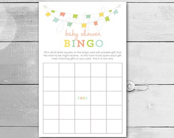 Baby Shower Bingo Game Cards / Baby Bunting Gender Neutral / Instant Download / PRINTABLE / 149