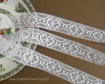"7 Yards, English Vintage Heirloom Lace, Delicate Cotton Lace Insertion, Doll Lace, Bridal Lace, Lingerie Lace, 7/8"" Wide - White - N106"