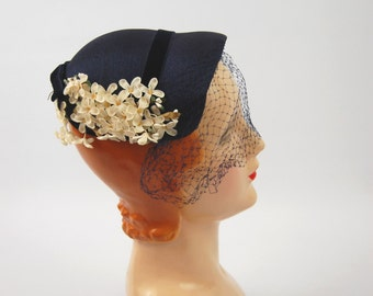 50s Small Navy Blue Straw Hat - Blue Straw hat with flowers - Mint and Pink