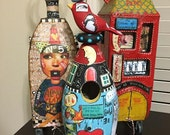 Mixed Media Art ROCKET SHIP BIRDHOUSE, Wood Bird, Zetti, Collage, Going to the Moon, Love,One of a Kind