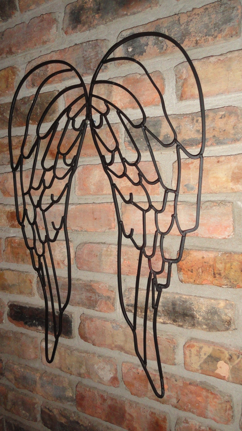 wrought iron angel wings wall decor garden decor old world. Black Bedroom Furniture Sets. Home Design Ideas