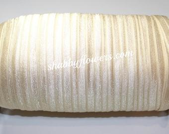 "5/8"" Solid Fold Over Elastic - CREAM - Baby Headband Elastic, Hairband Elastic, Headband Supplies -5 yards"