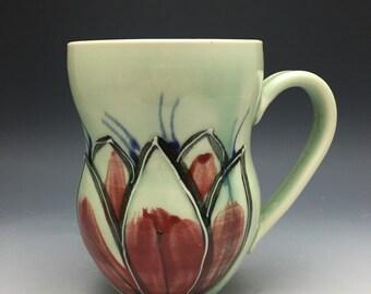 Mug, Coffee Cup, Tea, Red, Turquoise, Lotus, Black, Leaves, Flower, Porcelain, Pottery, Handmade
