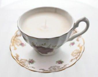 Chandelle de soya, tasse de porcelaine anglaise, vintage, candle, soy candle, teacup candle