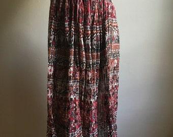 Pink Indian Cotton Gauze Drawstring  Full Skirt • Free Size Skirt • Boho Chic Skirt