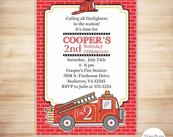 Fire Truck Party Invitation - Firetruck Party Invitation - Fireman Birthday Party Invitation - PRINTABLE EDITABLE TEMPLATE, Instant Download