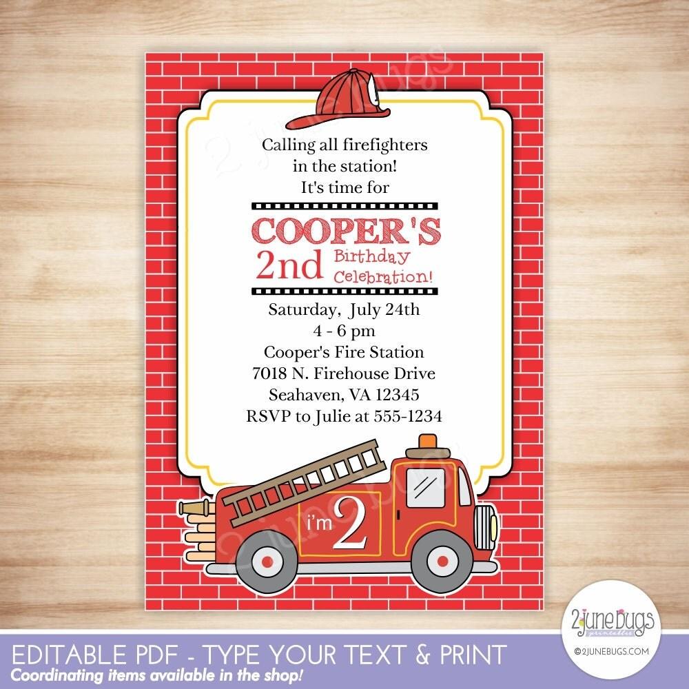 Fire Truck Party Invitation - Firetruck Party Invitation - Fireman ...