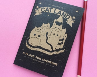 Cat Pocket Notebook, back to school, recycled sketchbook with lined pages, cute sketchbook, colourful stationery booklet, A6 book